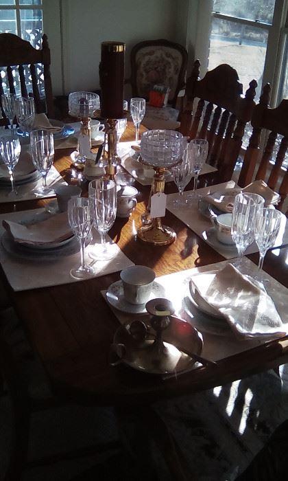 American Drew oak dining set, china, crystal