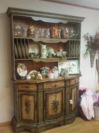 "painted cabinet, S&F Studio ""Belle Foglie"" china, Lenox, Fitz & Floyd"