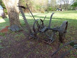 """Antique horse-drawn """"McCormick Deering"""" sickle mower"""