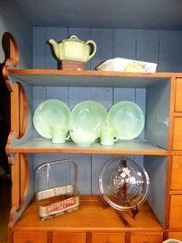Vintage Jadeite Jane Ray dinner plates, Fire King Jadeite  D mugs & cereal bowl