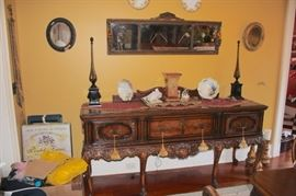 Vintage Server , Mirror and Pair of Oval Mirrors