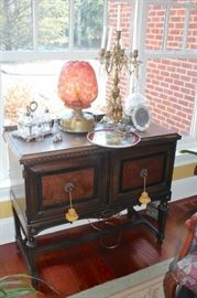 Wood Cabinet and Decorative Items
