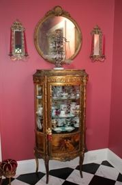 Stenciled Curio Cabinet LOADED with Decorative Items, Sconces, Round Mirror and Decorative Scales