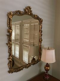 "Large Ornate Gilt Antique French Mirror (31.5""w x 40""h - overall)  $400"