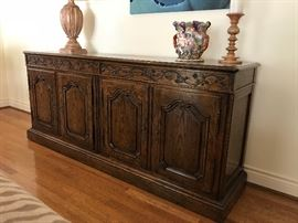 "Baker Credenza/Sideboard w/French Influence Carved Detail (78""w x 34""h x 19""d)  $900"