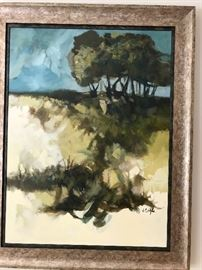 "Jerry Seagle Original 1970's Acrylic  'Trees at the Top of the Hill' (image size 30"" x 40"")   $3,900"