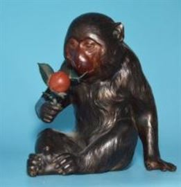 3: Signed Japanese Bronze Monkey Statue