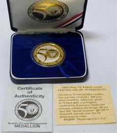 Bureau of Land Management .999 Silver Medallion w/ 24kt gold