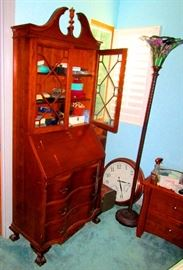 Antique drop leaf desk with drawers and hutch, tiffany pole lamp and old copper clock