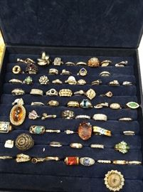 Loads of rings diamonds, jade, amber, emerald etc