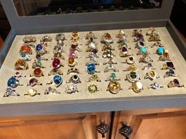 Rings - Gold,  Diamond, Aqua, Persian Turquoise, Coral, Lapis, Onyx etc