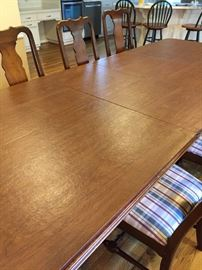 Dining table shown here with pads