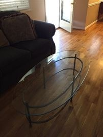 Glass & brass oval table