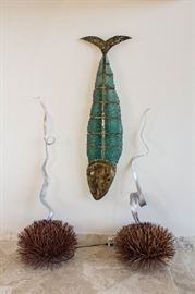 Glass and metal fish from Greece, artist A.Nikolakopoulos