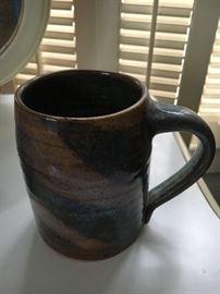 Signed Kim Ellington 1992 Swirl Pottery Mug