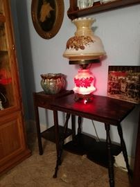 GWTW lamp, Victorian side table, smoking stand, pottery, WWII book,