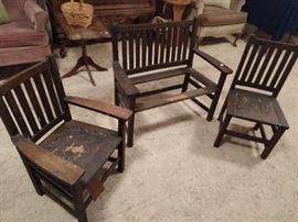 Antique Oak Mission Style children's set