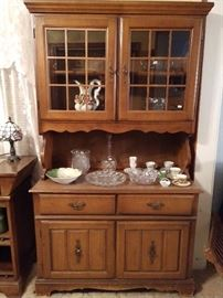 Mid-century colonial maple hutch, nice glass, ceramics