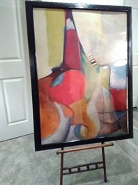 Abstract Print with Wooden Stand  https://www.ctbids.com/#!/description/share/8459