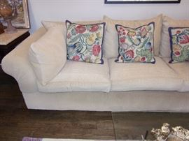 Luxury Kreiss Collection Sofa - Giverny Sofa Large rolled arms, deep seating, down-filled cushions and throw pillows make the Giverny Chaise our most popular selling sofa. Softly gathered pleats at the arms give a tailored quality to the sofa.excellent like new condition!