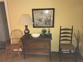19th Century chest &. early Southern ladderback chair