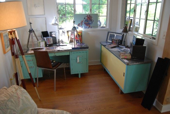 Vintage steel desk and credenza
