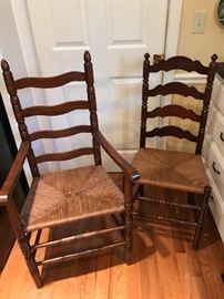 Set of six ladder back chairs.