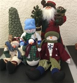 """Let it Snow"" snowmen, Ho-Ho in felt robe with fur trim, with snowshoes and tree"