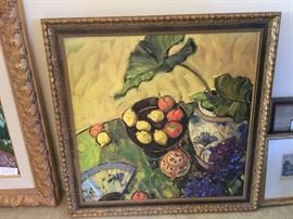 Framed still life painting, hydrangeas & teapot, square.        More artwork available than shown in pictures.