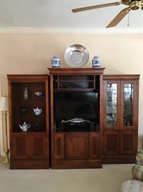Beautiful walnut entertainment center and 2 display cabinets