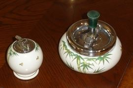 Vintage Kutani Japan ashtray and lighter