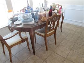 Solid fruit wood dining table w glass top and 6 chairs