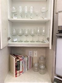 Sets of drinking glasses for water, wine and spirits. Lovely clean clear glass...