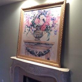 Oversized framed floral still life picture