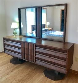 Mid Century Modern Brutalist Walnut Credenza!  Hard to find and it's in great condition!