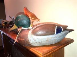 art carved wooden mallard duck
