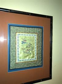framed silk Asian art