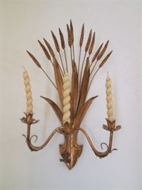 "Pair of Vintage Wall-mount Candelabras in ""Wheat"" Design and Gold Gilt.  Back to the days of Hollywood Regency!"