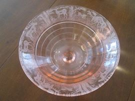 "Stunning Pink Etched Depression Glass Footed Bowl by ""Paden City"", Black Forest Stag and Hound Theme"