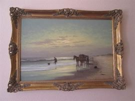 Large Fine Art Framed Pieces, signed, various themes