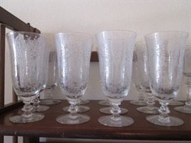 """Set of lovely Etched Crystal Stems by Tiffin Franciscan. Pattern:  """"June Night"""""""
