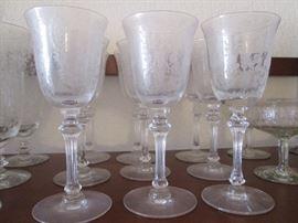 "Etched Crystal Stem Set by Tiffin Franciscan, ""June Night"" Pattern"
