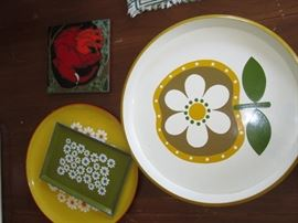 Vintage trays and tiles