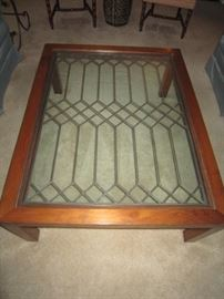 Contemporary table made with antique window piece