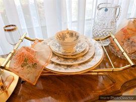 Brass/glass serving cart