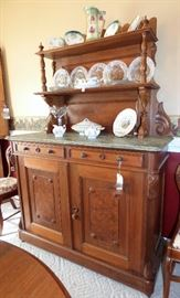 Antique Sideboard Burled Walnut with unusual marble top & ornate decoration