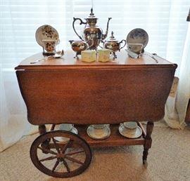 Vintage Rolling Tea Cart, Silverplate Coffee Service