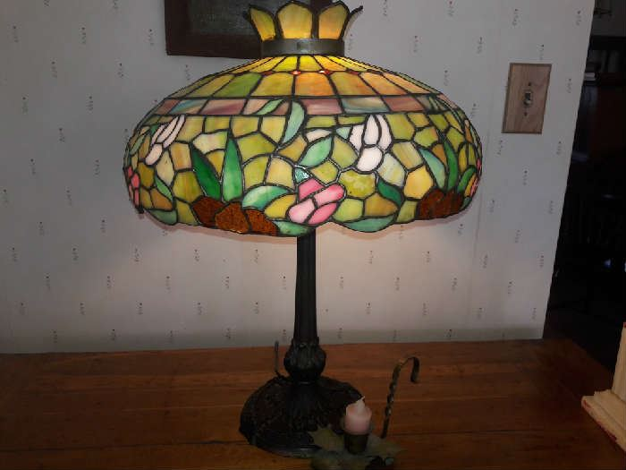 Antique Stained Glass Lamp by Miller Co.