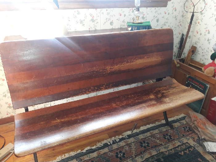 two student antique desk has two inkwells