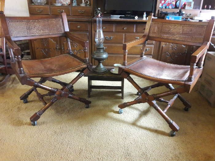 Chairs with leather seat and cane back with casters
